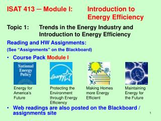 ISAT 413  ? Module I:	Introduction to 					Energy Efficiency
