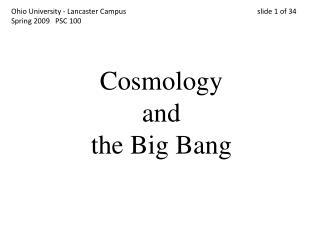 Cosmology and the Big Bang