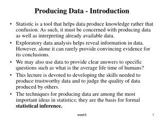 Producing Data - Introduction