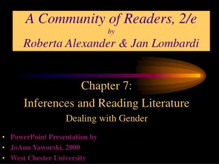 A Community of Readers, 2/e by Roberta Alexander & Jan Lombardi