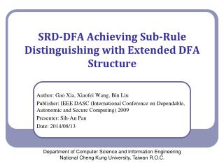 SRD-DFA Achieving Sub-Rule Distinguishing with Extended DFA Structure
