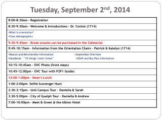 Tuesday, September 2 nd , 2014