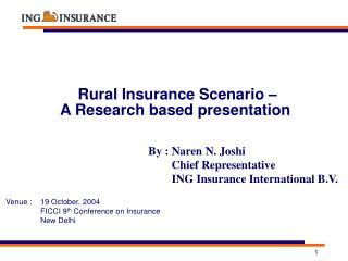 Rural Insurance Scenario –    A Research based presentation