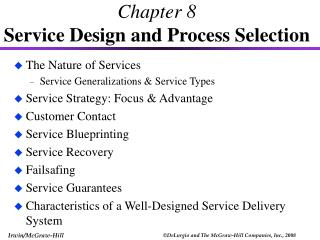 Chapter 8  Service Design and Process Selection