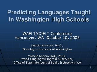 Predicting Languages Taught in Washington High Schools