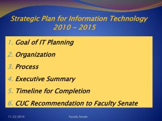 Strategic Plan for Information Technology 2010 - 2015
