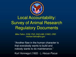 Local Accountability: Survey of Animal Research Regulatory Documents