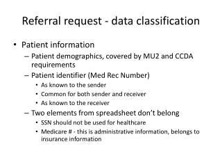 Referral request - data classification