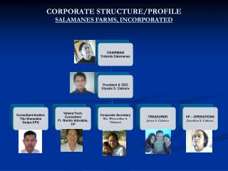 CORPORATE STRUCTURE/PROFILE SALAMANES FARMS, INCORPORATED