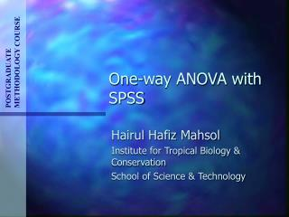 One-way ANOVA with SPSS