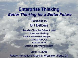 Enterprise Thinking Better Thinking for a Better Future