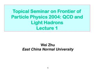 Topical Seminar on Frontier of Particle Physics 2004: QCD and Light Hadrons Lecture 1