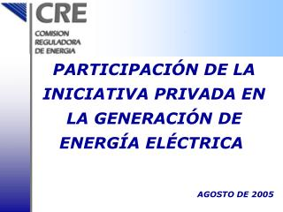 PARTICIPACI Ó N DE LA INICIATIVA PRIVADA EN LA GENERACIÓN DE  ENERGÍA  EL É CTR ICA