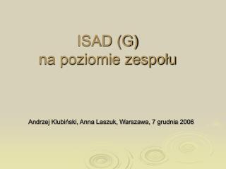 ISAD (G)  na poziomie zespołu