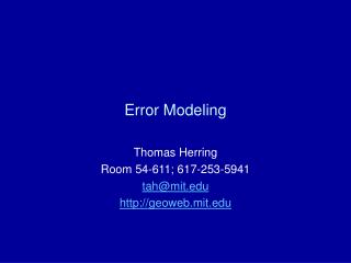 Error Modeling