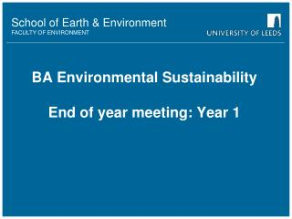 BA Environmental Sustainability End of year meeting: Year 1