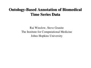 Ontology-Based Annotation of Biomedical Time Series Data