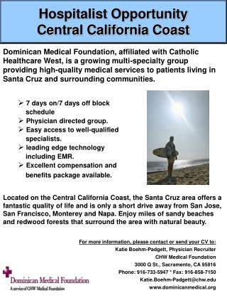 Hospitalist Opportunity Central California Coast