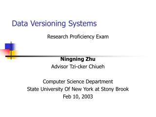 Data Versioning Systems