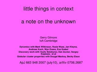 little things in context a note on the unknown