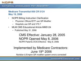 Medicare Transmittal 956 CR 5124  May 19, 2006
