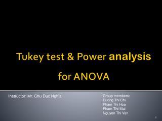 Tukey  test & Power  analysis  for ANOVA