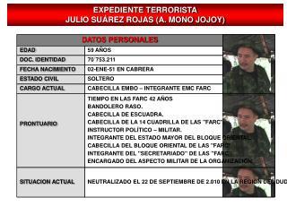 EXPEDIENTE TERRORISTA JULIO SUÁREZ ROJAS (A. MONO JOJOY)