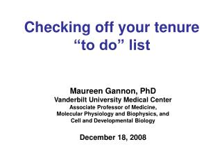 "Checking off your tenure ""to do"" list"