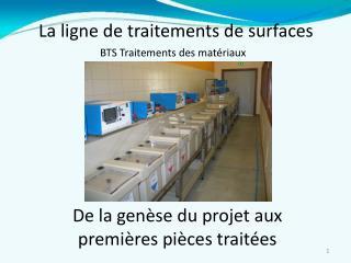 La ligne de traitements de surfaces