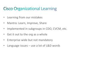 Cisco Organizational Learning
