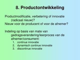 8. Productontwikkeling