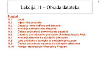 Lekcija 11 – Obrada datoteka