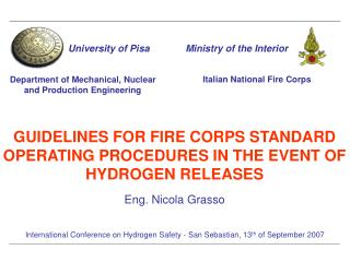 GUIDELINES FOR FIRE CORPS STANDARD OPERATING PROCEDURES IN THE EVENT OF HYDROGEN RELEASES