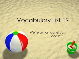 Vocabulary List 19