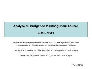 Analyse du budget de Montségur sur Lauzon 2008 - 2013