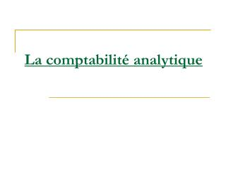 La comptabilit� analytique