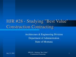 HJR #28 - Studying