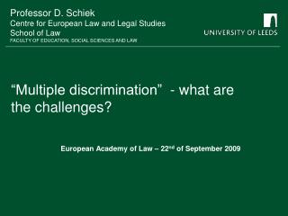 Multiple discrimination   - what are the challenges