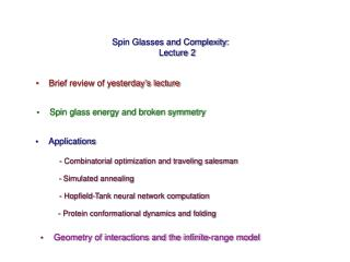 Spin Glasses and Complexity: Lecture 2