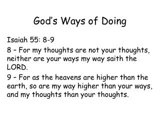 God's Ways of Doing