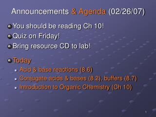 Announcements  Agenda 02