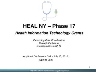 HEAL NY   Phase 17 Health Information Technology Grants