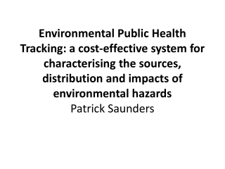Environmental Hazards and Human Health