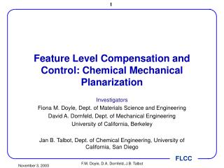 Feature Level Compensation and Control: Chemical Mechanical Planarization