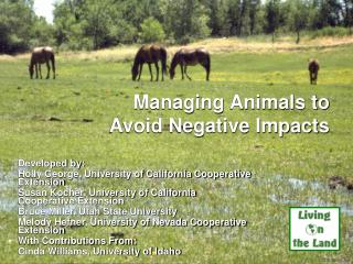 Managing Animals to Avoid Negative Impacts