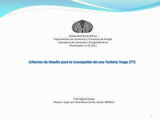 Criterios  de  Diseño para  la Concepción de  una Turbina Turgo  (TT)