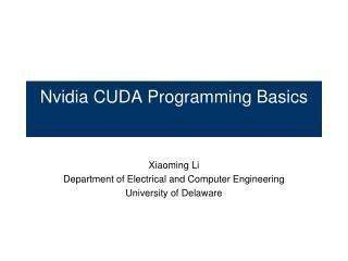 Nvidia CUDA Programming Basics