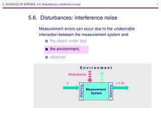 5. SOURCES OF ERRORS. 5.6. Disturbances: interference noise
