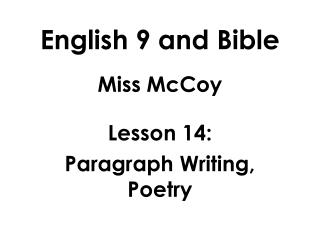 English 9 and Bible