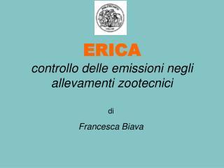 ERICA controllo delle emissioni negli allevamenti zootecnici